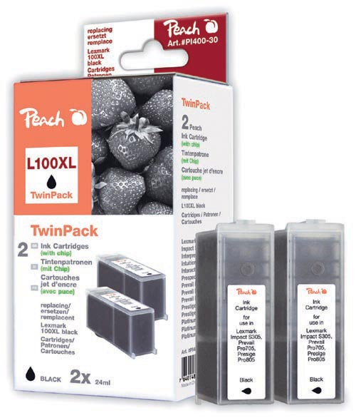 Peach  Doppelpack 2 Tintenpatronen schwarz kompatibel zu Lexmark Pro 700 Series