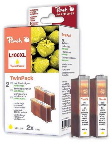 Peach  Doppelpack 2 Tintenpatronen gelb kompatibel zu Lexmark Intuition S 508